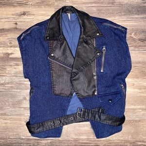 Free People Blue and Black Vest